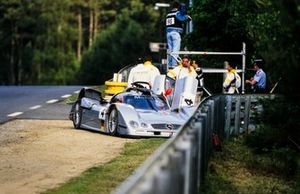 The remains of the Mercedes-Benz CLR driven by Mark Webber, Jean-Marc Gounon and Marcel Tiemann following the flip