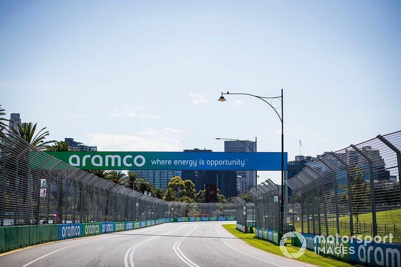 Aramco branding around the track