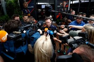 Christian Horner, Team Principal, Red Bull Racing talks to the press