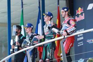 Race winner Fabio Quartararo, Petronas Yamaha SRT, second place Maverick Vinales, Yamaha Factory Racing, third place Andrea Dovizioso, Ducati Team