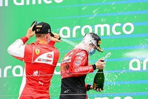 Mick Schumacher, Prema Racing and Callum Ilott, UNI-Virtuosi celebrate on the podium