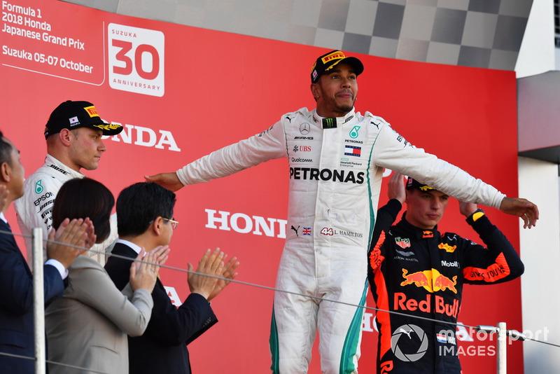 Valtteri Bottas foi o segundo colocado, seguido de Max Verstappen, na terceira.