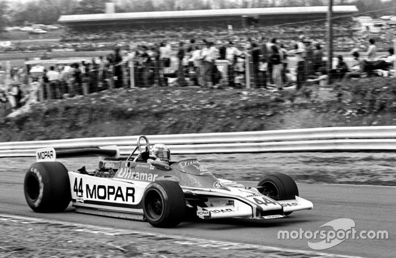 Guy Edwards, Mopar Fittipaldi F5A, séptimo en la clasificación general y primero serie Aurora AFX de Fórmula Uno (campeonato británico), Carrera de Campeones, Brands Hatch, Inglaterra, 15 de abril de 1979.