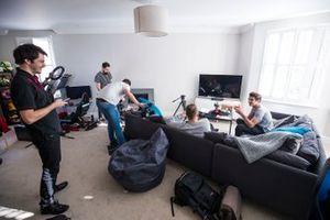 Lando Norris entertains an Autosport film crew at home. Former GP2 race winner and AutoGP champion Adrian Quaife-Hobbs is also present.