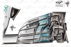 Mercedes W09, ala anteriore, Suzuka