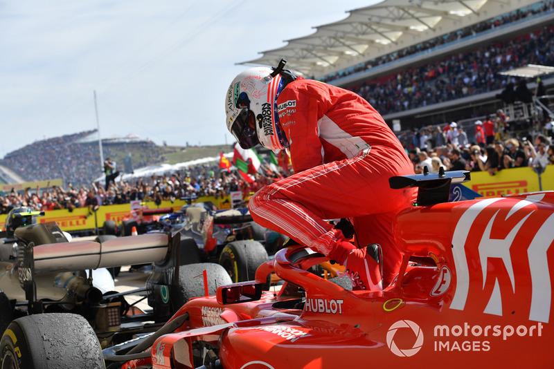 Sebastian Vettel, Ferrari SF71H en Parc Ferme
