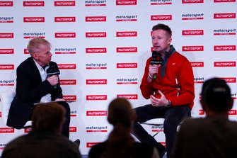 Gordon Shedden talks to on the Autosport Stage on the Autosport Stage