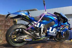 La moto de Joan Mir, Team Suzuki MotoGP après sa chute
