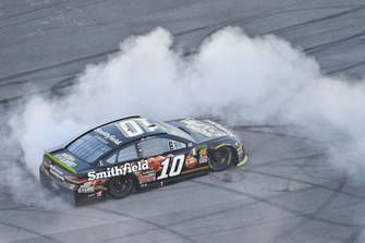 Aric Almirola, Stewart-Haas Racing, Ford Fusion Smithfield Bacon for Life celebrates his win Charlotte Kinrade