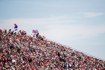 A huge turn out of fans in a grandstand