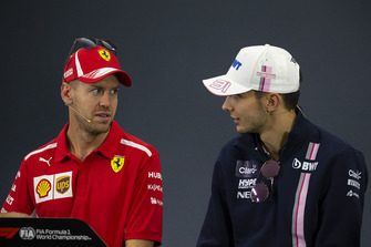 Sebastian Vettel, Ferrari and Esteban Ocon, Racing Point Force India F1 Team in Press Conference