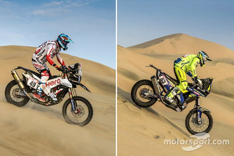 #49 Hero MotoSports Team Rally: CS Santosh, #53 Sherco TVS Racing Sherco: Aravind KP