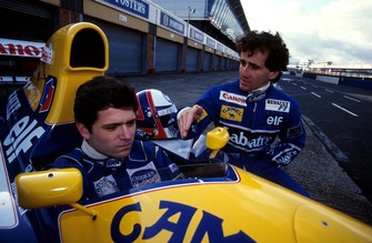 Gil de Ferran tests the Williams FW14 with Alain Prost