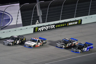 Johnny Sauter, GMS Racing, Chevrolet Silverado ISM Connect, John Hunter Nemechek, NEMCO Motorsports, Chevrolet Silverado , Noah Gragson, Kyle Busch Motorsports, Toyota Tundra Safelite AutoGlass and Brett Moffitt, Hattori Racing Enterprises, Toyota Tundra AISIN Group