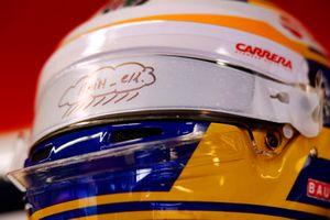 Une visière de pluie sur le casque de Marcus Ericsson, Sauber