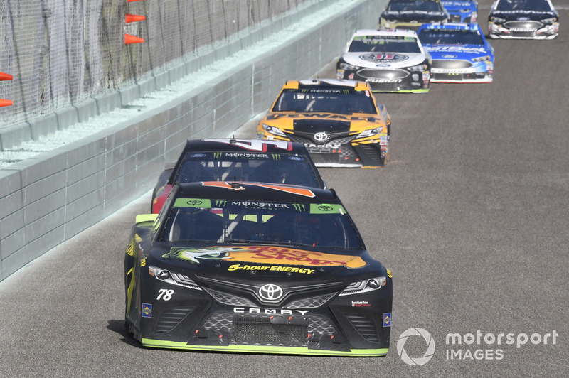 Martin Truex Jr., Furniture Row Racing, Toyota Camry Bass Pro Shops/5-hour ENERGY, Kurt Busch, Stewart-Haas Racing, Ford Fusion State Haas Automation/Monster Energy, Erik Jones, Joe Gibbs Racing, Toyota Camry DeWalt