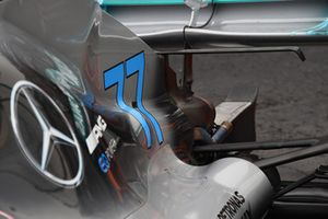 Rear wing and engine cover on car of Valtteri Bottas, Mercedes AMG F1 W09 EQ Power+ after stopping on track during FP2