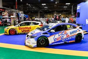 The cars of Sam Tordoff and Tom Chilton on the KwikFit BTCC stand