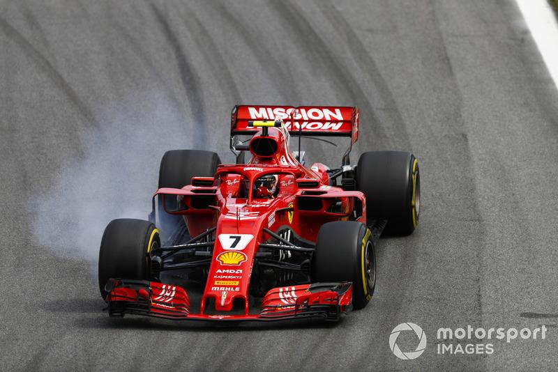 Kimi Raikkonen, Ferrari SF71H se bloquea