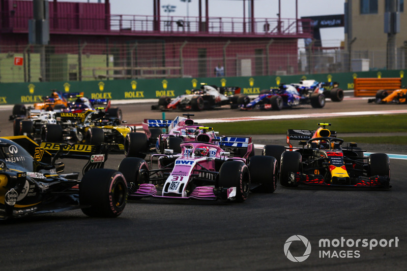 Nico Hulkenberg, Renault Sport F1 Team R.S. 18, Esteban Ocon, Racing Point Force India VJM11, Max Verstappen, Red Bull Racing RB14, Sergio Perez, Racing Point Force India VJM11