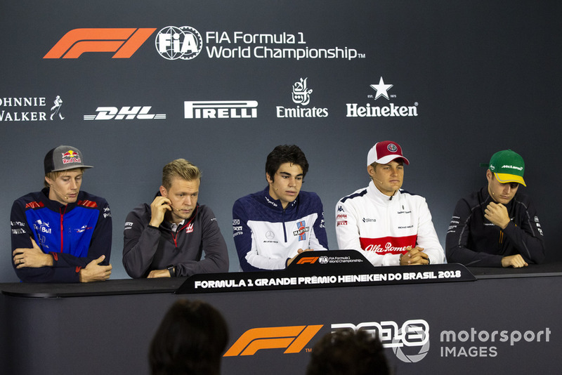 Brendon Hartley, Scuderia Toro Rosso, Kevin Magnussen, Haas F1 Team, Lance Stroll, Williams Racing, Marcus Ericsson, Sauber and Stoffel Vandoorne, McLaren in the press conference