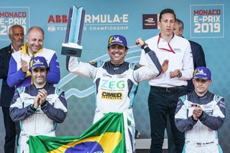 Race winner Cacá Bueno, Jaguar Brazil Racing celebrates on the podium with Sérgio Jimenez, Jaguar Brazil Racing, 2nd position, Bryan Sellers, Rahal Letterman Lanigan Racing, 3rd position