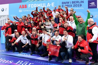 Lucas Di Grassi, Audi Sport ABT Schaeffler, celebrates with the team including Dieter Gass, Head of Audi Motorsports, Allan McNish, Team Principal, Audi Sport Abt Schaeffler