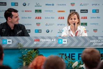 Jay Penske, Team Owner, Dragon Racing, Susie Wolff, Team Principal, Venturi Formula E in the team principals press conference