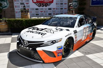 Denny Hamlin, Joe Gibbs Racing, Toyota Camry FedEx Ground unveils his Darlington car with Darrell Waltrip