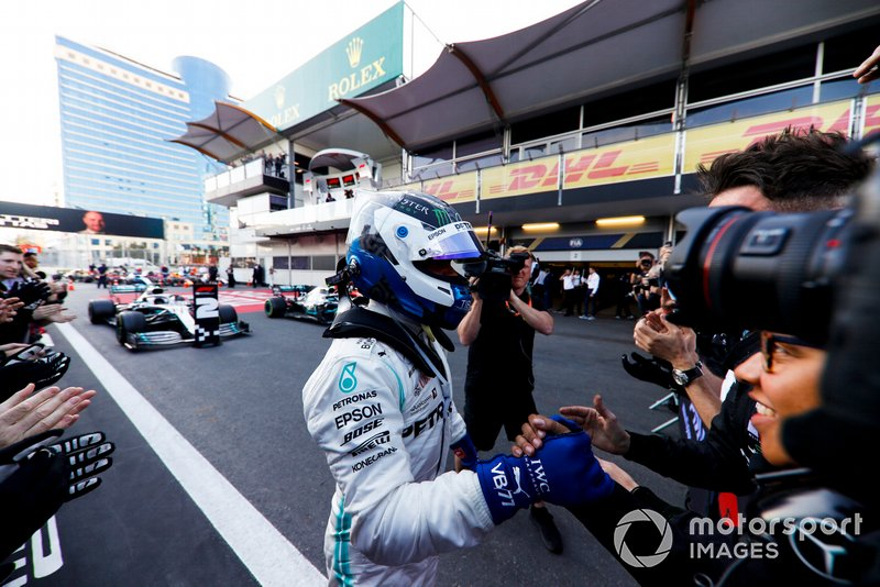 Valtteri Bottas, Mercedes AMG F1, 1st position, celebrates with his team in Parc Ferme