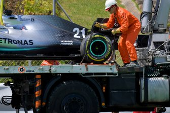 Car of Nikita Mazepin, private tester, Mercedes AMG F1 being put on o the back of a low loader