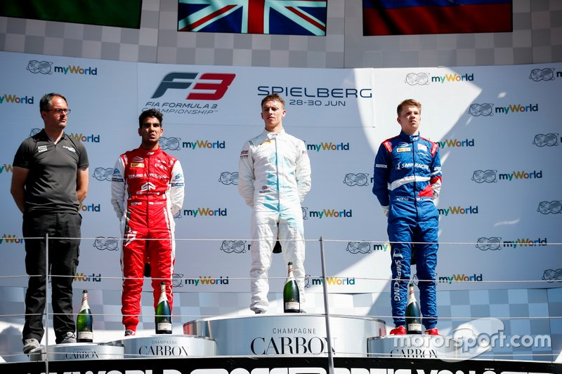 Race winner Jake Hughes, HWA RACELAB, Second place Jehan Daruvala, PREMA Racing and third place Robert Shwartzman, PREMA Racing on the podium
