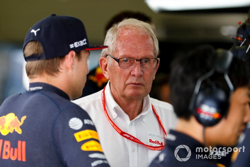 Helmut Markko, Consultant, Red Bull Racing e Max Verstappen, Red Bull Racing