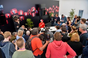 Mick Schumacher, Ferrari development driver, talks to media