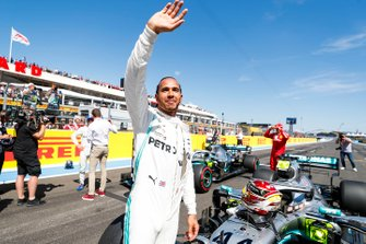 Lewis Hamilton, Mercedes AMG F1 W10, celebrates after taking Pole Position