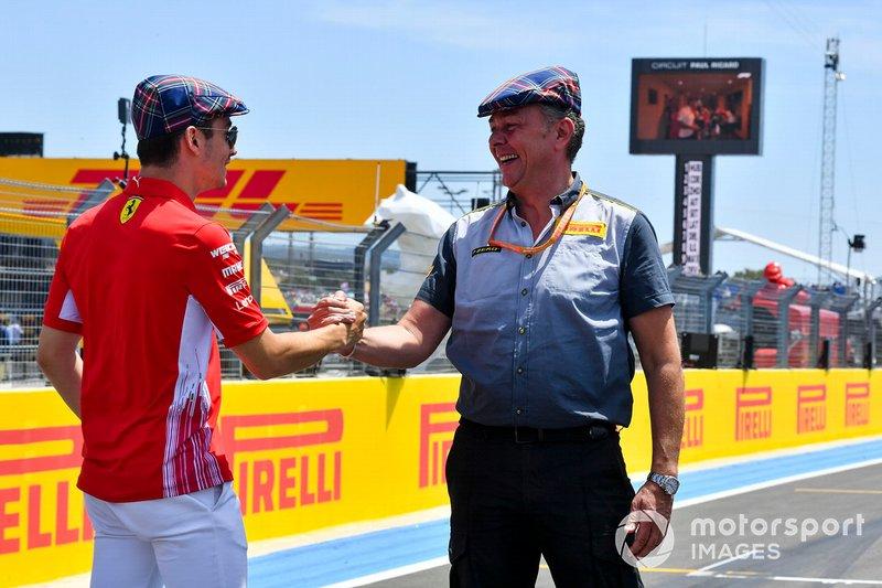 Charles Leclerc, Ferrari, con Mario Isola, Racing Manager, Pirelli Motorsport