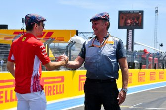 Charles Leclerc, Ferrari, with Mario Isola, Racing Manager, Pirelli Motorsport