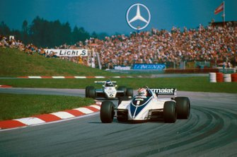 Nelson Piquet, Brabham BT50 leads Keke Rosberg