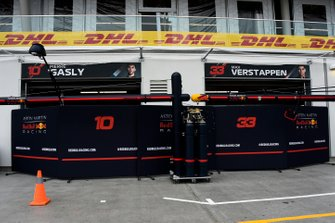 The Red Bull Racing team's garages in the pit lane