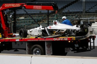 Kyle Kaiser, Juncos Racing Chevrolet after a crash in turn 3