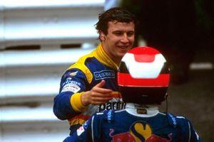 Победитель Гран При Монако Оливье Панис, Ligier, обладатель третьего места Джони Херберт, Sauber