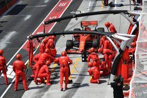 Sebastian Vettel, Ferrari SF90, comes in for a stop