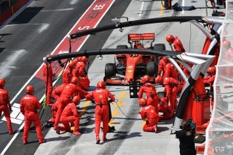 Sebastian Vettel, Ferrari SF90, comes in for a stop