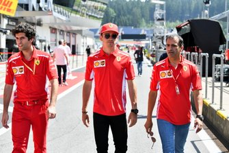Charles Leclerc, Ferrari in the pit lane with Marc Gene