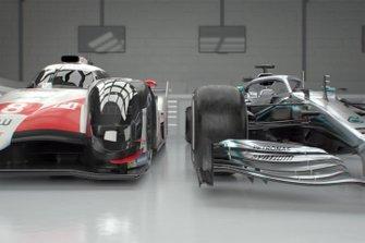 Auto Toyota LMP1 e l'auto Mercedes F1 confronto