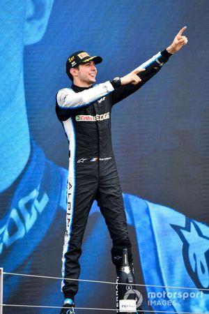 Esteban Ocon, Alpine F1, 1st position, celebrates on the podium