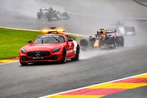 The Safety Car Max Verstappen, Red Bull Racing RB16B, George Russell, Williams FW43B, and Lewis Hamilton, Mercedes W12