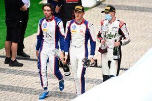 Third place Clement Novalak, Trident, race winner Jack Doohan, Trident, second place Frederik Vesti, ART Grand Prix