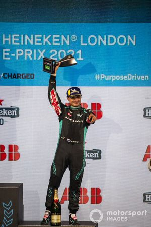 Mitch Evans, Jaguar Racing, 3rd position, with his trophy