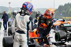 Pole man Max Verstappen, Red Bull Racing, and George Russell, Williams, congratulate each other in Parc Ferme